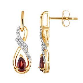 10k Gold Garnet & 1/8 Carat T.W. Diamond Infinity Drop Earrings