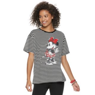 Disney's Mickey Mouse 90th Anniversary Juniors' Minnie Mouse Striped Ringer Tee