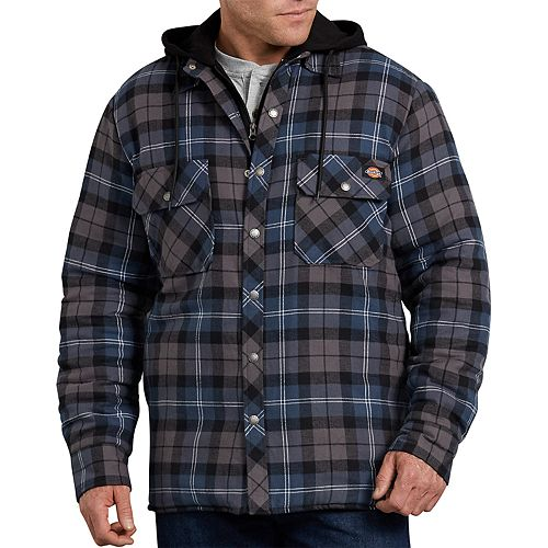 Men's Dickies Relaxed-Fit Plaid Quilted Hooded Shirt Jacket