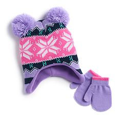 Baby Girl Fairisle Pom Hat & Mittens Set