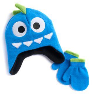 Baby Boy Monster Hat & Mittens Set