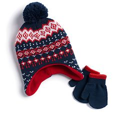 Baby Boy Fairisle Hat & Mittens Set