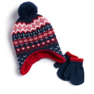 Baby Boy Fairisle Hat & Mittens Set