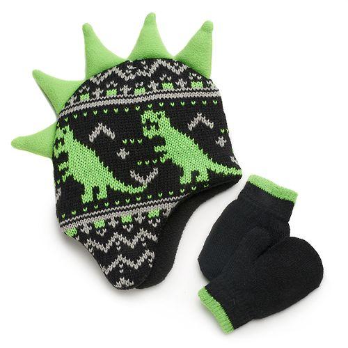 Baby Boy Dinosaur Spiked Hat & Mittens Set