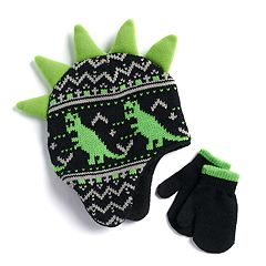 Toddler Boy Dinosaur Fairisle Hat & Mittens Set