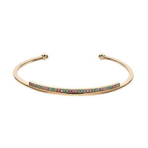 LC Lauren Conrad Rainbow Simulated Crystal Cuff Bracelet