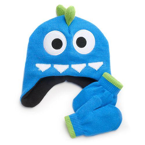 Toddler Boy Monster Spiked Hat & Mittens Set