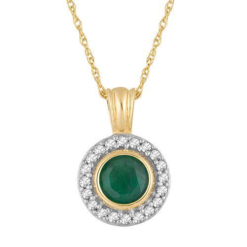 10k Gold Emerald & 1/10 Carat T.W. Diamond Halo Pendant Necklace