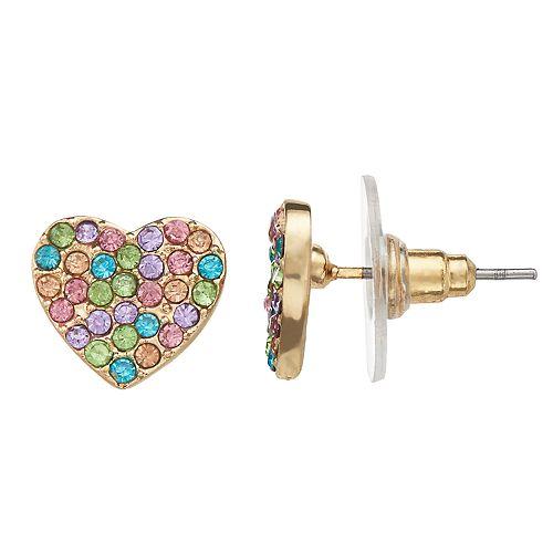 LC Lauren Conrad Rainbow Simulated Crystal Nickel Free Heart Stud Earrings