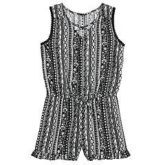 Girls 7-16 Joey B Print Cross-Front Romper