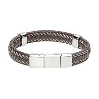 LYNX Men's Braided Leather & Stainless Steel Bracelet