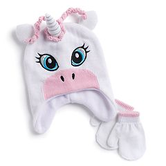 Toddler Girl Unicorn Hat & Mittens Set