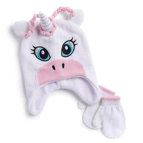 Toddler Girl Unicorn Hat & Mittens Set