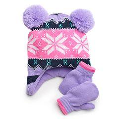 Toddler Girl Double Pom Fairisle Hat & Mittens Set