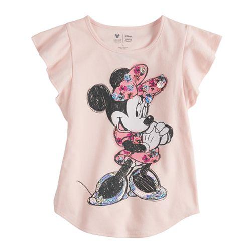 Disney Minnie Mouse Toddler Girls Flutter Sleeve  Shift Tee