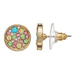 LC Lauren Conrad Rainbow Simulated Crystal Nickel Free Circle Stud Earrings