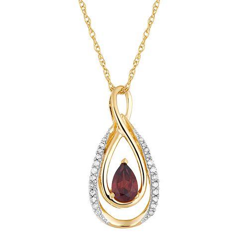 10k Gold Garnet & 1/10 Carat T.W. Diamond Infinity Teardrop Pendant