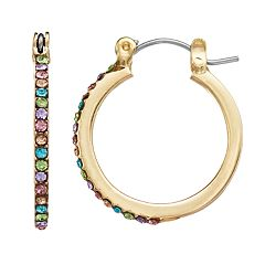 LC Lauren Conrad Rainbow Simulated Crystal Nickel Free Hoop Earrings