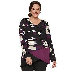 Plus Size Dana Buchman Asymmetrical Hem Knit Tunic