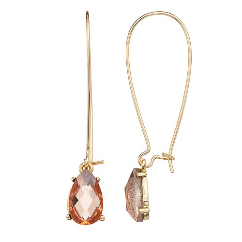 LC Lauren Conrad Pink Simulated Crystal Nickel Free Teardrop Earrings