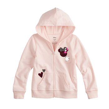 2d0379c31977 Disney Minnie Mouse Toddler Girls Sequin Heart Full-Zip Hoodie By ...