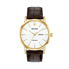 Bulova Men's Classic Leather Automatic Watch - 97C107