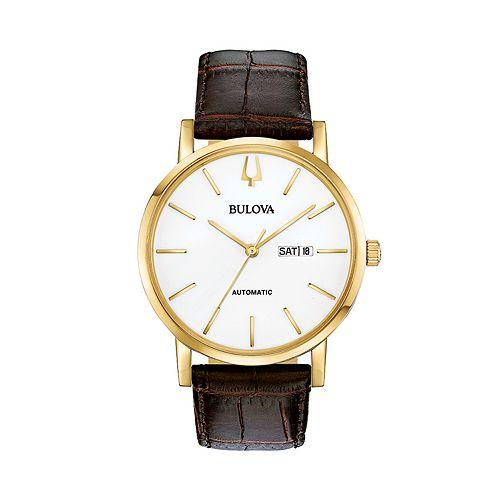 Bulova Men's Classic Leather Automatic Watch - 97C107