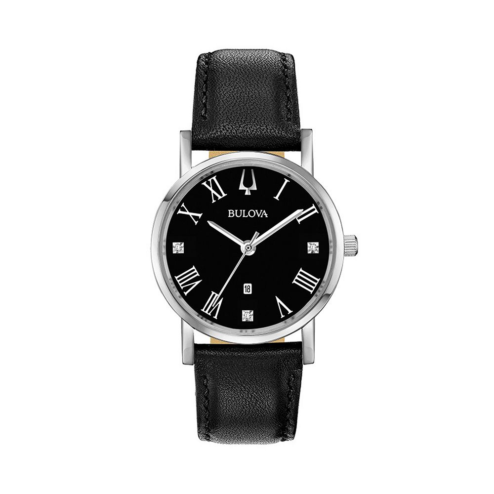 Bulova Women's Classic Slim-Profile Diamond Accent Leather Watch - 96P192