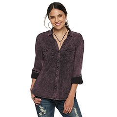 Women's Rock & Republic® Roll-Cuff Button-Down Shirt