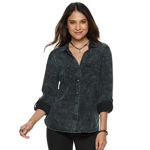 Women's Rock & Republic® Roll-Cuff Button-Down Shirt