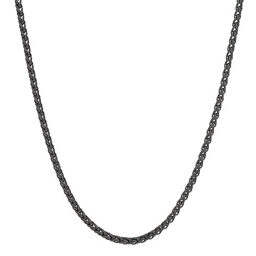 LYNX Men's Black Ion Plated Stainless Steel Wheat Chain Necklace
