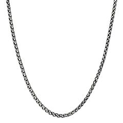 LYNX Men's Antiqued Stainless Steel Wheat Chain Necklace