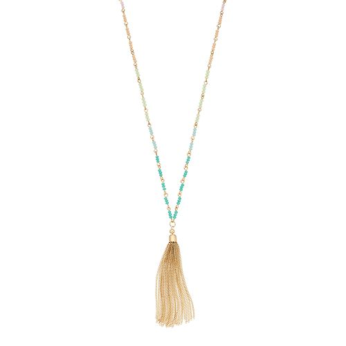 LC Lauren Conrad Beaded Tassel Necklace
