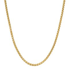 LYNX Men's Gold Tone Stainless Steel Wheat Chain Necklace