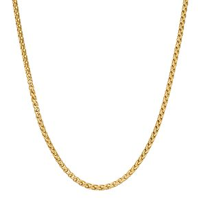 LYNXMen's Gold Tone Stainless Steel Wheat Chain Necklace