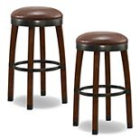 Leick Home Sienna Cask Faux Leather Bar Stool 2-piece Set