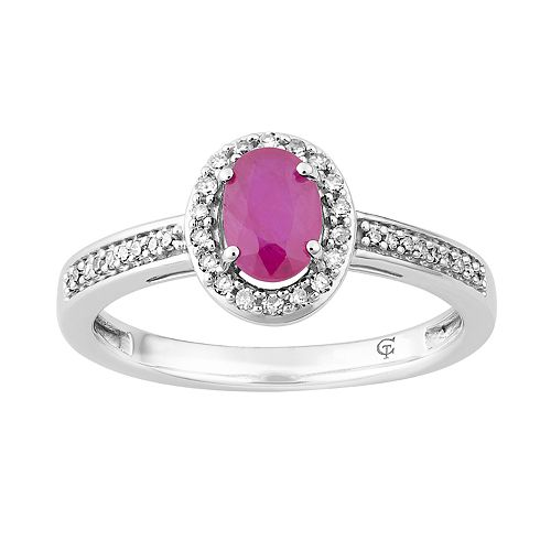 10k White Gold Ruby & 1/6 Carat T.W. Diamond Oval Halo Ring