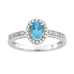 10k White Gold Swiss Blue Topaz & 1/6 Carat T.W. Diamond Oval Halo Ring