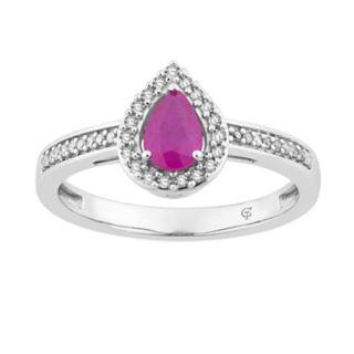 10k White Gold Ruby & 1/6 Carat T.W. Diamond Teardrop Halo Ring