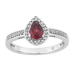 10k White Gold Garnet & 1/6 Carat T.W. Diamond Teardrop Halo Ring