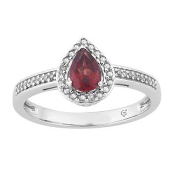 10k White Gold Garnet & 1/6 Carat T.W. Diamond Teardrop Halo Ring