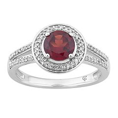 10k White Gold Garnet & 1/5 Carat T.W. Diamond Halo Ring