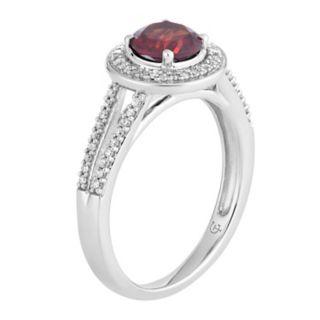 10k White Gold Garnet & 1/5 Carat T.W. Diamond Halo Ring