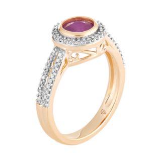 10k Gold Ruby & 1/5 Carat T.W. Diamond Halo Ring
