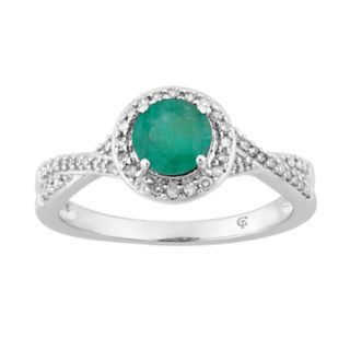 10k White Gold Emerald & 1/4 Carat T.W. Diamond Halo Ring