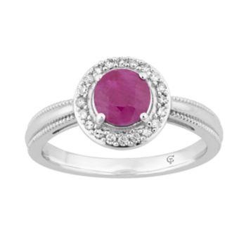 10k White Gold Ruby & 1/8 Carat T.W. Diamond Halo Ring
