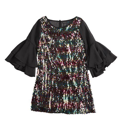 Girls 7-16 My Michelle Sequin Ruffle Dress