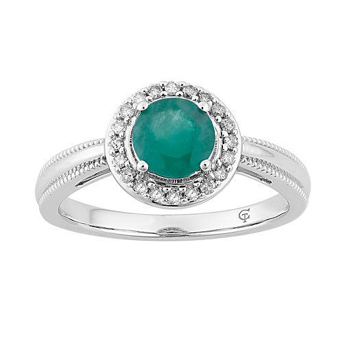 10k White Gold Emerald & 1/8 Carat T.W. Diamond Halo Ring