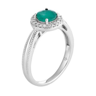 10k White Gold Emerald & 1/8 Carat T.W. Diamond Halo Ring