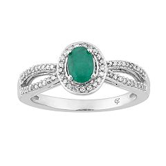10k White Gold Emerald & 1/5 Carat T.W. Diamond Halo Ring